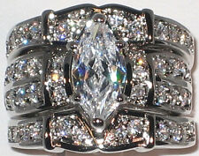 HUGE Marquise CZ White Gold and Rhodium EP Bridal Wedding 3 Ring Set - Size 8