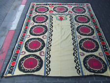 ANTIQUE UZBEK SILK HAND MADE- EMBROIDERED SUZANI 195x152-cm / 76.7x59.8-inches