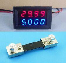 0-100V 100A DC 4-Digit LED Voltmeter Ammeter Amp Volt combo Meter+Shunt