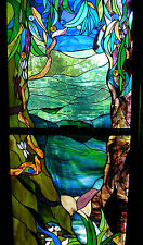 RELAXING RAINFOREST WATER SCENE Shades of Turquoise & Blue Stained Glass Window
