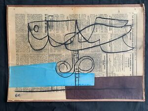 vintage mixed media on cardboard ! LE CORBUSIER - hand signed