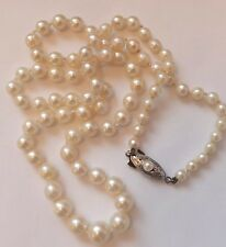 Antique Pearl Necklace Silver Clasp 20 inch Long Chain