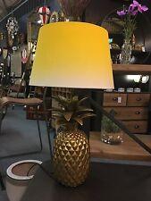 ANANAS ORO Antico Lampada da tavolo con laureando Giallo & Bianco Ombra 55 cm ad alta