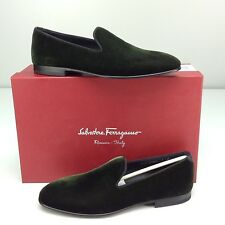 Salvatore Ferragamo Velvet Verde Green Nero Flat Men's Slipper Loafer 7 D Miro