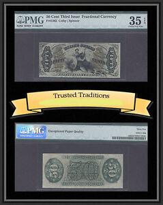 TT FR 1362 50 CENT THIRD ISSUE FRACTIONAL PMG 35 EPQ CHOICE VERY FINE