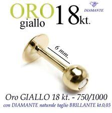 Piercing body TRAGO CORPO LABRET LABBRO ORO GIALLO 18kt. BRILLANTE GOLD DIAMOND