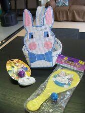 CrossStitch Easter Basket w/ Bunny Paddle Ball & Dinosaur Egg Light Keychain Toy