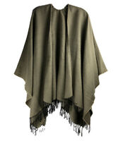 Brown Tan Jacquard Cape Shawl Poncho Wrap Sweater Scarf w/ Fringe Tassels