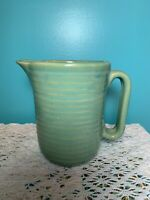 "Vintage Green Ribbed USA Milk Pitcher Pottery Creamer 5 3/8"" tall 4"" wide"