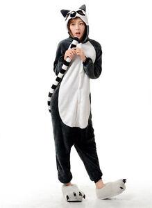 Animal tail lemur Onesiee Kigurumi Fancy Dress Costume Hoody Pajamas Sleep wear