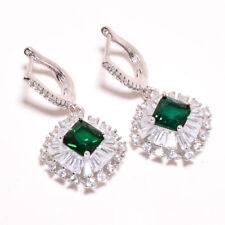 "Emerald Quartz, White Topaz 925 Sterling Silver Jewelry Earring 1.46"" E626-13-3"