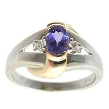 14kt white gold 0.51ctw oval blue/purple tanzanite & diamond accent ring, size 7
