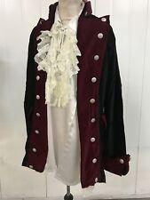 Steampunk Raven Gothic Black/burgundy Admiral Jacket Silky Pirate Shirt XL