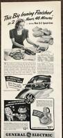 ORIGINAL 1940 General Electric GE Speed Iron Print Ad Coffee Maker Mixer Sub-Ads