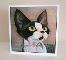 Devon Rex Cat art painting greetings card from painting by Suzanne Le Good