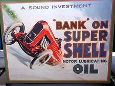 SHELL MOTOR OIL/GASOLINE/ BANK ON 40X30cm METAL WALL SIGN OIL/PETROL/GAS,USA
