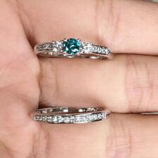 14k Gold Blue & white Diamond Wedding band Engagement Ring Set Christmas Gift