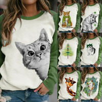 Womens Long Sleeve Blouse T Shirt Ladies Sweatshirt Pullover Tops Animal Print