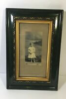 """Antique Victorian Picture Frame 1900 Good Guilt And Green Frame 9"""" X 13.5 """""""