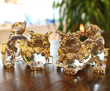 Traditional Lion Dog Ornament Okinawa Gold SHISA Shishi Glass Ware Japanese