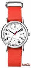 Timex T2N870 WR30M Indiglo Coral Nylon Strap Stainless Steel Case Women's Watch