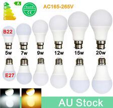 AU Stock 4W~20W B22 E27 Bayonet Screw  LED Globe Light Lamp Energy Saving Bulb