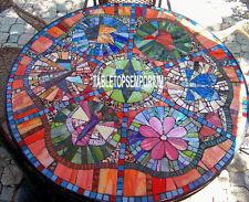 48'' Marble Dining Table Top Lapis Precious Stone Inlay Christmas Mosaic Decor