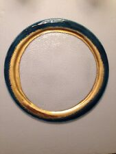 New Glass Charger/cheese Plate Hand  Made In Italy 24k Gold/Teal Border 12.75""