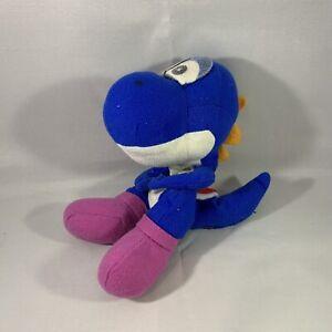 Super Mario BLUE YOSHI Plush Toy Doll Bean Bag BD&A 1997 Rare Nintendo