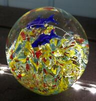 """Art Glass Swimming Fish Paperweight * 3"""" dia. * Colorful * Bubbles * Excellent!"""