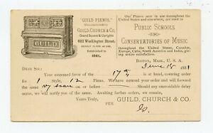 ILLUSTRATED UX 1881 POSTAL CARD GUILD PIANOS BOSTON, MASSACHUSETTS