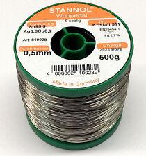500 g Stannol Kristall 511 Lötzinn 0,5mm 5-seelig Sn95,5 Ag3,8Cu0,7 bleifrei