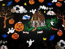 """HAUNTED HOUSE HALLOWEEN COTTON FABRIC - GHOSTS, BATS, WITCHES - 54"""" x 44"""""""