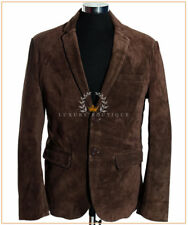Carter Brown Men's New Smart 2 Buttons Real Cowhide Suede Leather Blazer Jacket