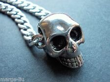 TITANIUM SKULL PENDANT WITH 316L STAINLESS CURB CHAIN NECKLACE  HIGH QUALITY UK
