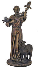 St. Francis With Animals Statue, In Cold Cast Bronze, 10.5""