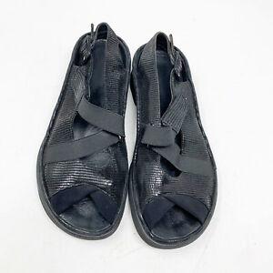 Thierry Rabotin size 9 Kayla Black Snake Detail Slingback Sandals Shoes