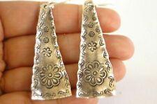 Thai Hill Tribe Long Cone Shaped Tribal Motif No Stone Sterling Silver Earrings