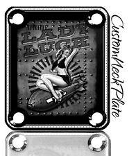 Black Lady Luck Engraved Guitar Neck Plate fits Fender pbass,Telecaster, Strat