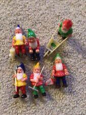 Vintage Lot Of Mini Garden Gnomes Elves Figures Cake Toppers Decor