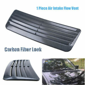 Carbon Fiber Look Decorative Air Flow Cover Hood Bonnet Intake Scoop Turbo Vent