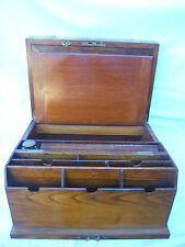 Writing slope Walnut unusual fold out compartment for letters key lock brass