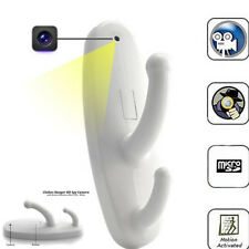 White Motion Detection Clothes Hook Spy Camera Hidden Nanny Cam Babysitting DVR