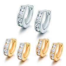 Fashion 4-Stones Diamond Silver / Yellow Gold Filled Women Jewelry Hoop Earrings