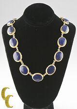 "Lapis Lazuli Cabochon 14k Yellow Gold Handmade Necklace 18.5"""
