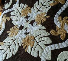 Hawaiian quilt handmade 100% hand quilted/appliqued K/Q BEDSPREAD w/ 2 shams