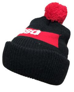 Vtg Esso Hat Pom Pom Beanie Toque Gas Station Oil Company Logo Knit K Brand Cap