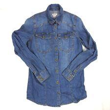 Mossimo Denim Blue Jean Button Front Blouse Shirt Size XS