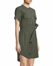 2143dfcee6c Theory Women's Dress Medium M Faded Army Belted Cargo Stretch Cotton Shift  Shirt
