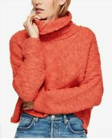 NWT Free People Womens XS Coral Big Easy Cowl Neck Crop Sweater Shirt Top $128